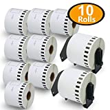 BETCKEY - Compatible DK-2205 Continuous Length 2-3/7' x 100'(62mm x 30.48m) Replacement Labels,Compatible with Brother QL Label Printers [10 Rolls + 2 Refillable Cartridge Frame]