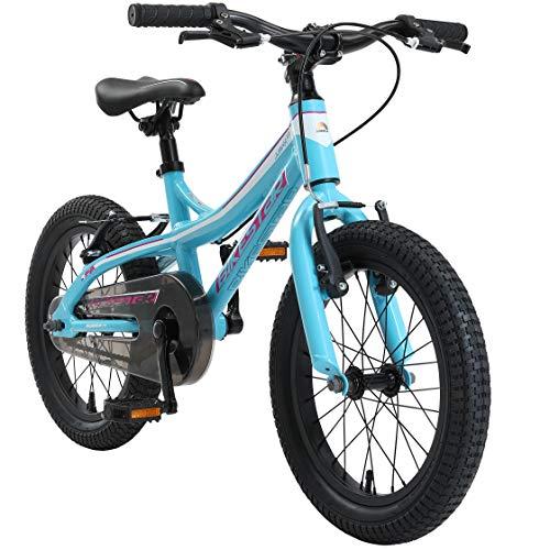BIKESTAR Kinder Fahrrad Aluminium Mountainbike mit V-Bremse für Mädchen und Jungen ab 4-5 Jahre | 16 Zoll Kinderrad MTB | Türkis & Weiß