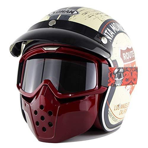 MMRLY Retro Harley Helm 3/4 Open Face Motorrad Motorradhelm ECE-Standard-Schädel Jet-Helm mit Goggle-Maske und Visier,S