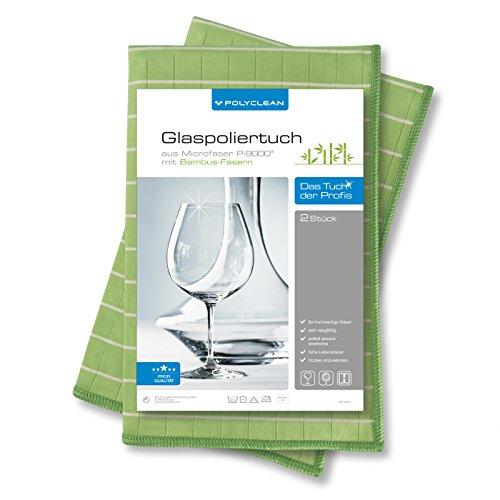 2x POLYCLEAN Glaspoliertuch – Mikrofaser-Tuch mit Bambus-Fasern für streifenfreie Gläser, Fenster und Spiegel (60 x 40 cm, Grün, 2 Stück)
