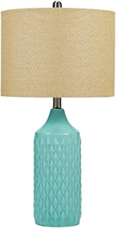 Catalina Lighting 21424-000 Modern Ceramic Table Lamp with Burlap Shade for Living, Family, Bedroom, Dorm Room, Office, 26.5