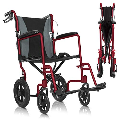 Vive Mobility Folding Transport Wheelchair - Aluminum Chair with Hand Brake - Lightweight, Foldable, Adjustable Travel Manual Mobility Aid - Ultralight Comfortable 19 Inch Wide Bariatric Handicap Seat