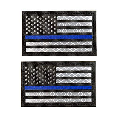 2x3.15 Inch Reflective Thin Blue Line US USA American Flag Morale Tactical Police Patches Hook-Fastener Backing 3D Patch (C-2 pcs)