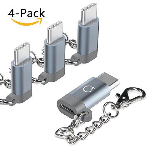 Gritin USB Typ C Adapter, 4 Stück Premium Aluminium Micro USB Adapter für MacBook Pro, ChromeBook Pixel, Nexus 5X, Nexus 6P, HTC 10, OnePlus 2 und weitere Typ C Geräte - Grau