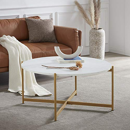 BELLEZE Beret Round Coffee Table Side Accent Table Home Decor Living Room, Marble/Gold