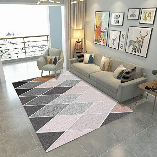 VBUEFM Wollteppich Rosa Grau Schwarz Gelb Rautenmuster Kurzflor-Designer Teppich extra weich Naturfaserteppich fürs Wohnzimmer,Outdoor,Schlafzimmer,Esszimmer oder Kinderzimmer 120 x 170 cm