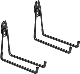 WINSOON Heavy Duty Double Utility Garage Hooks Wall Mount Hook Set Tool Tack Storage (2 x Large U Shape, Black)