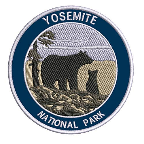 Yosemite National Park Bear & Cub 3.5' Embroidered Patch DIY Iron or Sew-on Decorative Vacation Travel Souvenir Applique Wander Nature Wildlife Hike Trek Camping Explore Mountains Stars Moon Wolf