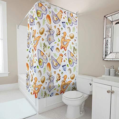 Wecrayon Ostern Kaninchen Ei Duschvorhang Anti-Schimmel Wasserdicht Waschbar Stoff Duschvorhäng Polyester Textil Bad Vorhang mit Vorhanghaken für Dusche White 150x200cm