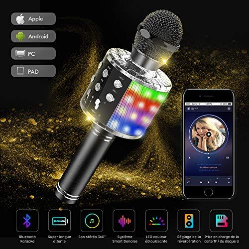 Karaoke Mikrofon Bluetooth, Tragbare Drahtlose Mikrofon Mit 4.1 Lautsprecher Für Erwachsene und Kinder Für Sprach und Gesangsaufnahmen Kompatibel Mit Android/IOS/PC/laptop(Schwarz)