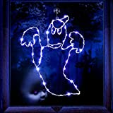 Halloween Window Lights Bat Ghost Shaped, Iron Black Frame Hanging Lights, Bat Ghost Window Silhouette Party Decoration Indoor with Remote Timer USB Operated (White Light, Ghost Style)