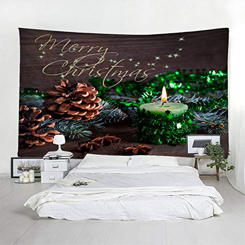 Daesar Christmas Wall Decor Tapestry, Tapestry Wall Decoration Christmas Tree Pine Cones and Candles 3D Tapestry Durable Polyester Brown Green Wall Hangings Tapestry 118 x 102 Inch