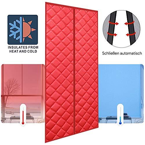 LSXIAO Wärmeschutzvorhang Magnetischer Isoliervorhang Automatisch Schließen Verhindert Kalten Wind Warm Halten Lärmreduzierung Küche Isoliertes Garagentor, 44 Größen (Color : Red, Size : 140x240cm)