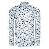 Signum Hemd - ICON Hemd mit,Animal Print Herrenhemd - Strong Blue
