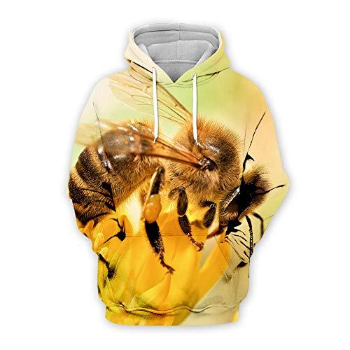 ASADVE Herren europäischen und amerikanischen Pullover 3D Digitale Biene print-K17_XS