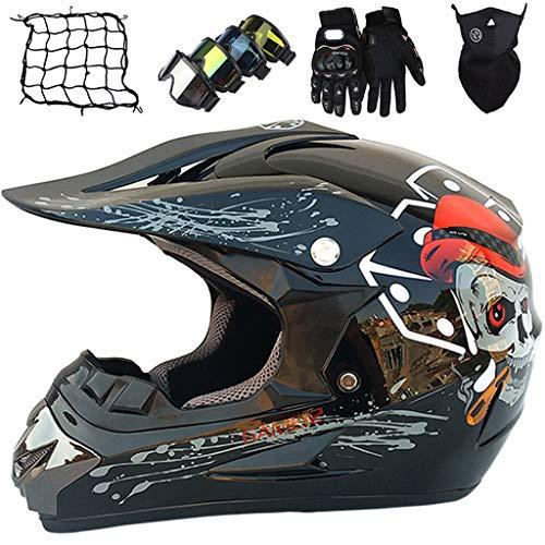Casco de Moto Niños S(52~53cm) Conjunto de Casco de Motocross Integral para Jóvenes & Adultos M~XL (54~59cm) con Guantes/Gafas/Máscara/Red de Bungy (5 piezas) - Cráneo Negro Brillante