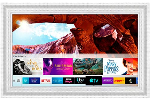 Framed Mirror TV with Samsung Q60 4K Ultra HD HDR Smart LED TV (43 inch, White Modern)