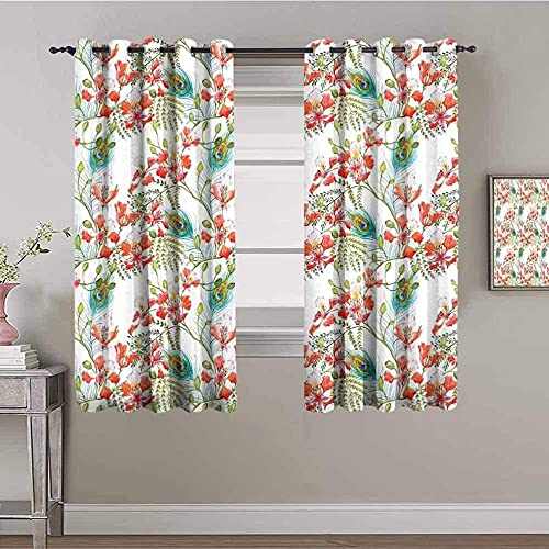 JYDFC Curtains for Bedroom Eyelet - Thermal Insulation Noise Reduction - 3D Digital Printing - Super Soft Thick - Children's Room Boy Girl Bedroom Room - 92X72 Inch - Fashion Plant Flower Pattern