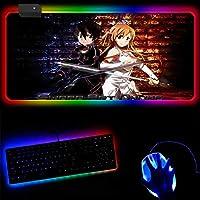ゲーミングマウスパッドソードアートオンラインアニメRGBゲーミングマウスパッドゲーマーLEDコンピューターパッド大型ライトバックライト付きビッグコンピューターキーボードパッド-40x90x0.4cm
