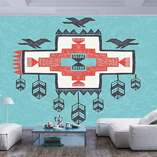 55x30 Inches Wall Mural Ethnic Tribal Aztec Hand Drawn Dreamcathcher Folkloric Icons Birds Image Peel And Stick Self Adhesive Wallpaper Removable Large Wall Sticker Wall Decor For Home Office Wantitall
