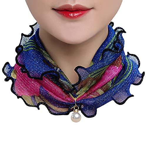 JUSTDOLIFE Bufanda De Cuello Ligero Suave Suave Decorativo Versátil Cabeza Envoltura Bufanda Bufanda Bufanda para Mujeres Dama Acogedora Círculo Collar Encanto Gasa