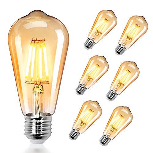 Airsnigi Edison Vintage Glühbirne, 6 Stück 4W LED E27 Glühbirne Warmweiss Retro Glühbirne 2700K, Ideal für Retro Beleuchtung im Haus Café Bar Restaurant Hochzeit Weihnachten Dekoration usw