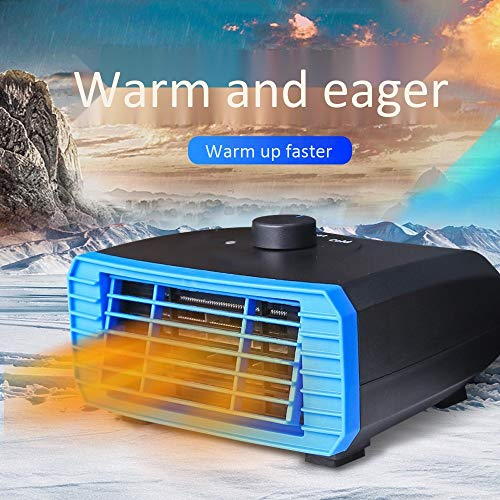 Portable Car Heater, Automobile Windscreen Fan 12V24V Car Small Appliances Fast Heating Defrost Defogger Best Winter Gift, with 120cm Cigarette Lighter Line