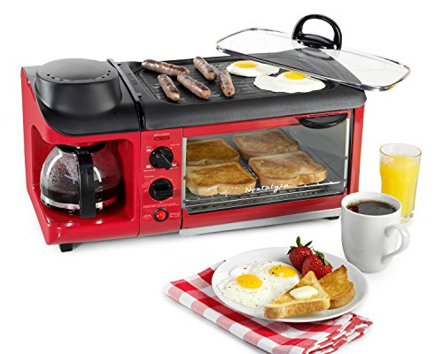Product Image 5: Nostalgia BSET300RETRORED 3-in-1 Family Size Breakfast Station, Red