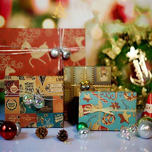 40 Hojas Papel Regalo Navideño, 4 Diseños Reciclable kraft Papel de Envoltura de Regalos Navidad para Cumpleaños...