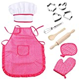 bluesees Chef Set for Kids, 11 Pcs Chef Play Set Children Kitchen Costume Role Pretend for Boys Girls Toddler Role Play Cooking and Baking set with Apron, Chef Hat, Utensils, Cooking Mitt