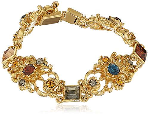 Ben-Amun Arabian Nights Collection Swarovski Crystal Gold Plated New York Fashion Jewelry, Station Gold Bracelet