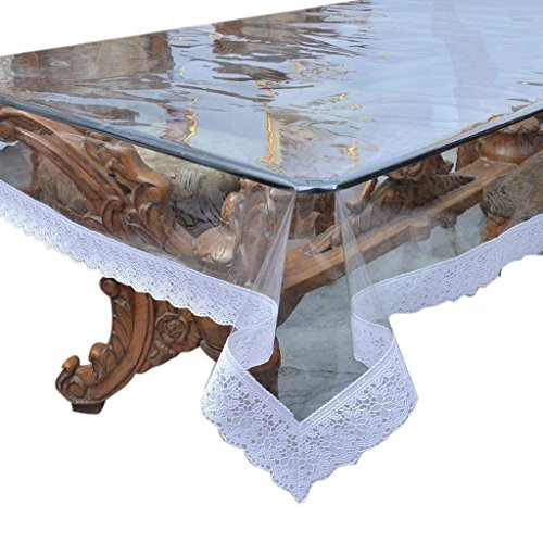 Heavy Duty Waterproof Clear Pleastic Table Cover, Beautiful White Lace PVC Tablecloth Protector (60' x 90') Easy to Clean and Durable
