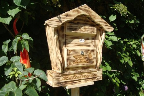 Briefkasten, Holzbriefkasten HBK-SD-GEFLAMMT aus Holz geflammt gebrannt amazon schwarz - natur Gartendeko Briefkästen Postkasten Spitzdach