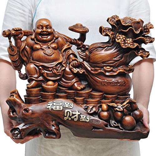 GuanDun Maitreya Buddha Ornaments Statue Laughing Buddha Living Room Dedicated to Large-Belly Lucky Crafts Housewarming Gift Evil Spirits Money Drawing Wealth Fortune