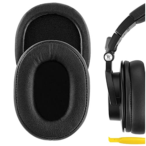 Geekria QuickFit Protein Leather Replacement Almohadillas para Audio Technica ATH-M50X, ATH-M50XBT, ATH-M40X, ATH-M30, ATH-M20, ATH-M10, AR5BT, AR5IS Almohadillas para Auriculares (Negro)