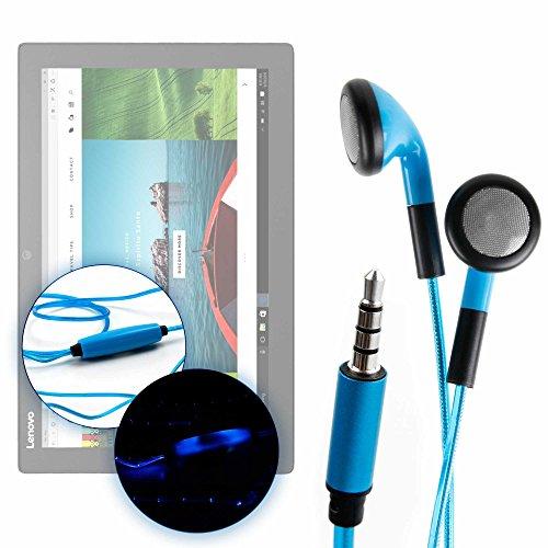 DURAGADGET Auriculares In-Ear con Luz LED Azul Compatible con Tablet ASUS Transformer Pro T304, ZenPad 3S 10 LTE/DELL Latitude 5285, 7285 / Lenovo Miix 720, X1 Tablet (2017), Yoga Book 12.2'