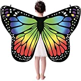 Andouy Damen/Kinder Schmetterlingsflügel Schal Nymphe Pixie Flügel Poncho Kostümzubehör für Party Weihnachten Cosplay(135X65CM.Grün-1)