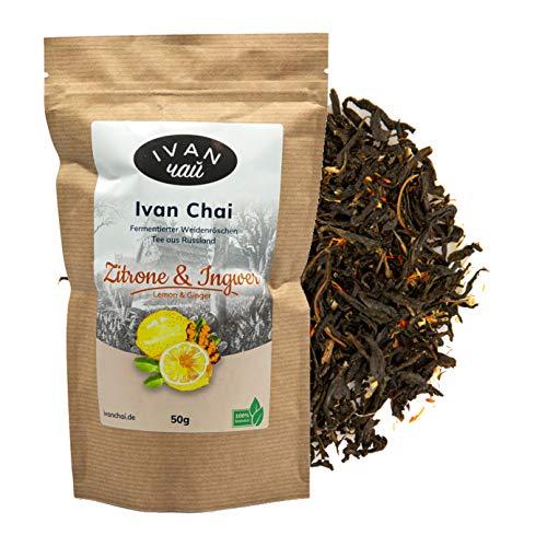 Ivan Chai - Zitrone & Ingwer | Entspannungstee | Fermentierter Weidenröschen Tee Lose | Premium Qualität |Wild & Handverarbeitet
