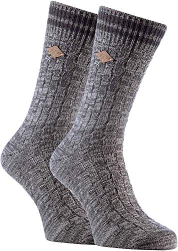 FARAH® - 2er Pack Herren Vintage Qualität Baumwolle Socken mit Gestreift (39/45, 04 Slate)