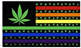 PringCor Rainbow Marijuana Pot Leaf USA 3x5FT Flag Banner Weed Hippie Blunt Cannabis Dope
