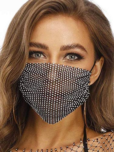 Barode Sparkly Rhinestones Mesh Mask Crystal Bling Masks Masquerade Party Prom Face Jewelry (Black)
