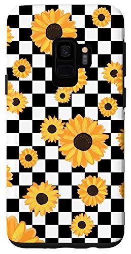 Galaxy S9 Black White Checkerboard Sunflower Cute Checkered Girl Gift Case