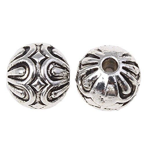 Perlin - Verzierte Metallperlen Kugeln Spacer 8mm 20stk Versilbert Filigrane Metall Perlen Schmuckperlen Antiksilber Zwischenperlen Schmuckperlen Charms Beads M536 x2
