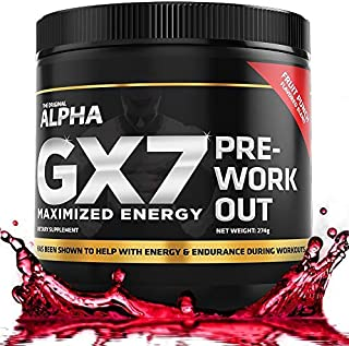 Alpha GX7 Pre Workout for Men and Women - Lasting Energy, Enhanced Performance - Sugar Free 30 Servings Fruit Punch Flavor