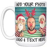 Custom Mugs w Photo and Text - Christmas 2020 Keepsake, 15 oz. Customized Large Coffee Mug - Add Photo, Logo, Picture or Text on Coffee Mugs, Custom Christmas Mug, Great Photo Gifts for Mom, Dad