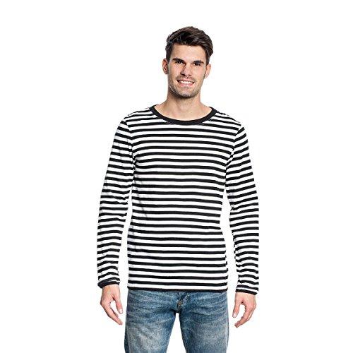 Kostümplanet® Ringel Shirt Langarm Herren schwarz-weiß Größe XL