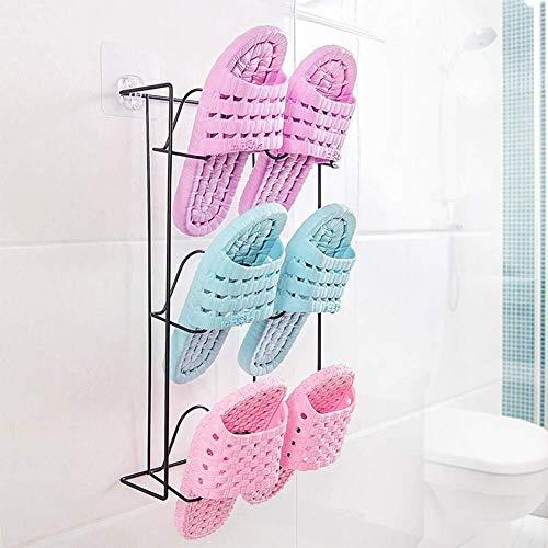 Zfggd Muro de hierro colgantes zapatero Inicio multi-capa Espacio de almacenamiento de zapatos plataforma de baño colgar de la pared deslizadores de los zapatos de almacenamiento en rack ahorro de esp