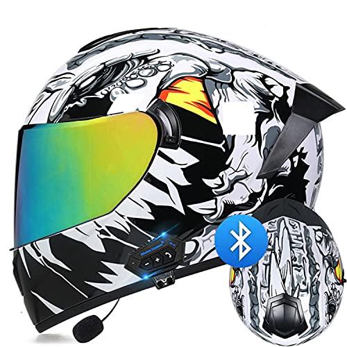 LPXPLP Bluetooth Integrado Casco de Moto Modular con Doble Visera Cascos de Motocicleta a Prueba de Viento ECE Homologado para Adultos Hombres Mujeres I,L
