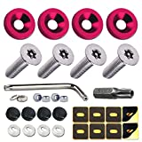 Anti Theft License Plate Screws- Tamper Proof Car Tag Screw 6mm for Fastening Plate, Front Bumper/Rear Mounting Hardware Kit, with Security Bolts, Fasteners, Red Aluminum Washers and Black Caps Cover