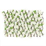 Siepe in legno con petali artificiali, simulazione recinto telescopico, in legno, decorazione da giardino, griglia di protezione per la privacy estesa, parete verde per piante artificiali